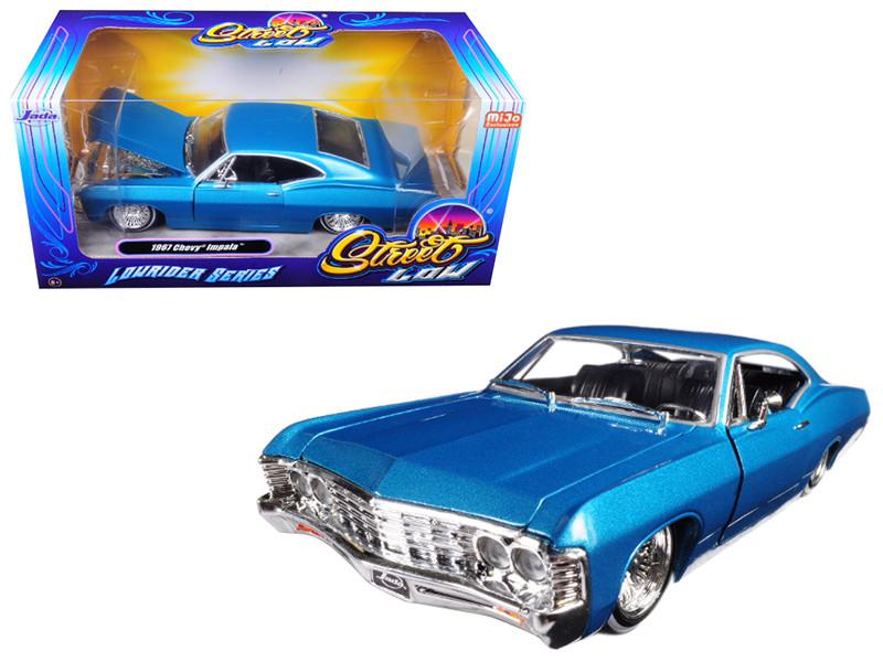 1967 Chevrolet Impala Blue Lowrider Series Street Low 1/24 Diecast Model Car Jada 98935