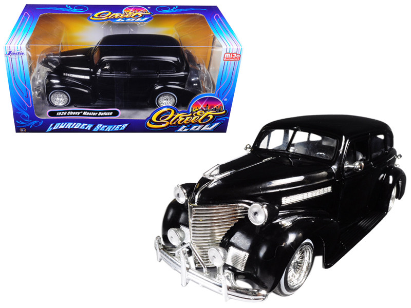 1939 Chevrolet Maser Deluxe Black Lowrider Series Street Low 1/24 Diecast Model Car Jada 98913
