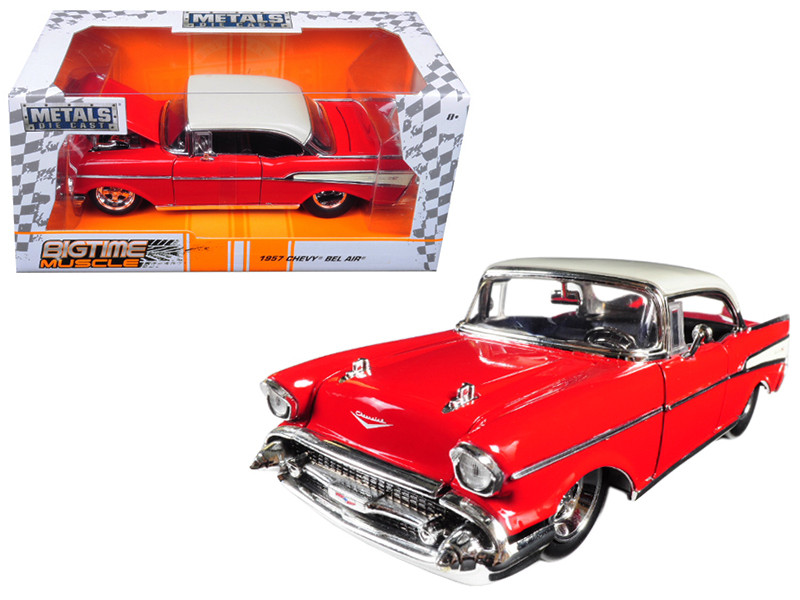 1957 Chevrolet Bel Air Red Bigtime Muscle 1/24 Diecast Model Car Jada 98944