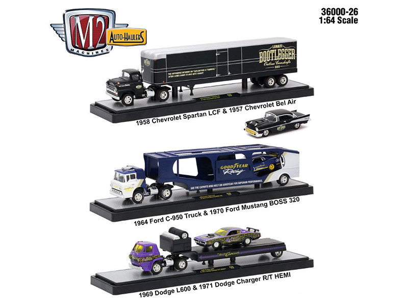 Auto Haulers Release 26 3 Trucks Set 1/64 Diecast Models M2 Machines 36000-26