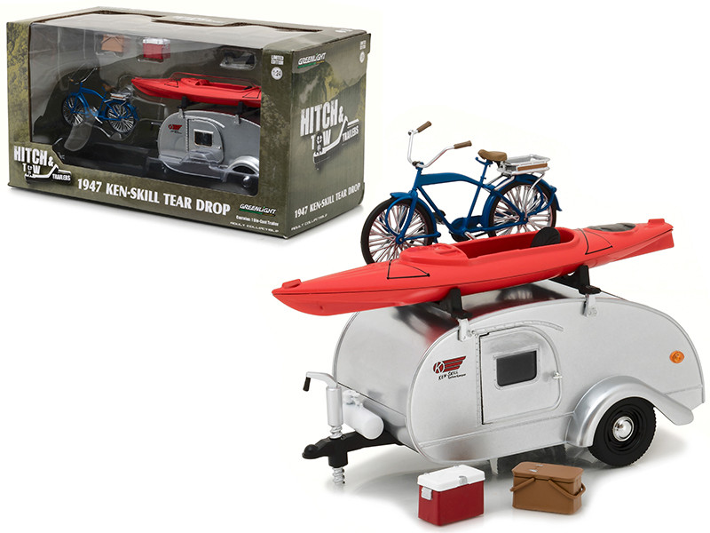 1947 Ken Skill Tear Drop Trailer with Accessories for 1/24 Scale Model Cars and Trucks 1/24 Diecast Model Greenlight 18420 A