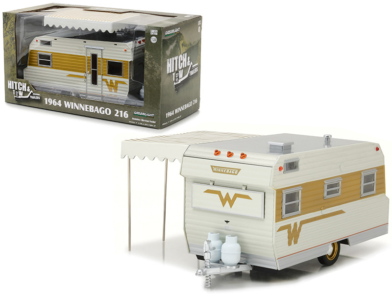 1964 Winnebago 216 Travel Trailer for 1/24 Scale Model Cars and Trucks 1/24 Diecast Model Greenlight 18420 B