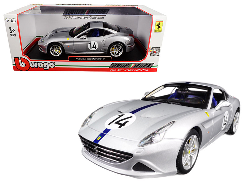 Ferrari California T Hot Rod Silver #14 70th Anniversary 1/18 Diecast Model Car Bburago 76103