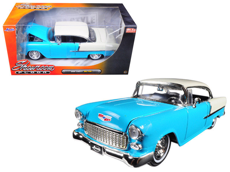 1955 Chevrolet Bel Air Hard Top Blue Showroom Floor 1/24 Diecast Model Car Jada 98886