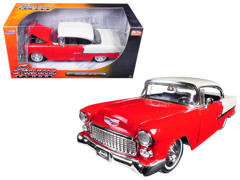 1955 Chevrolet Bel Air Hard Top Red Showroom Floor 1/24 Diecast Model Car Jada 98887