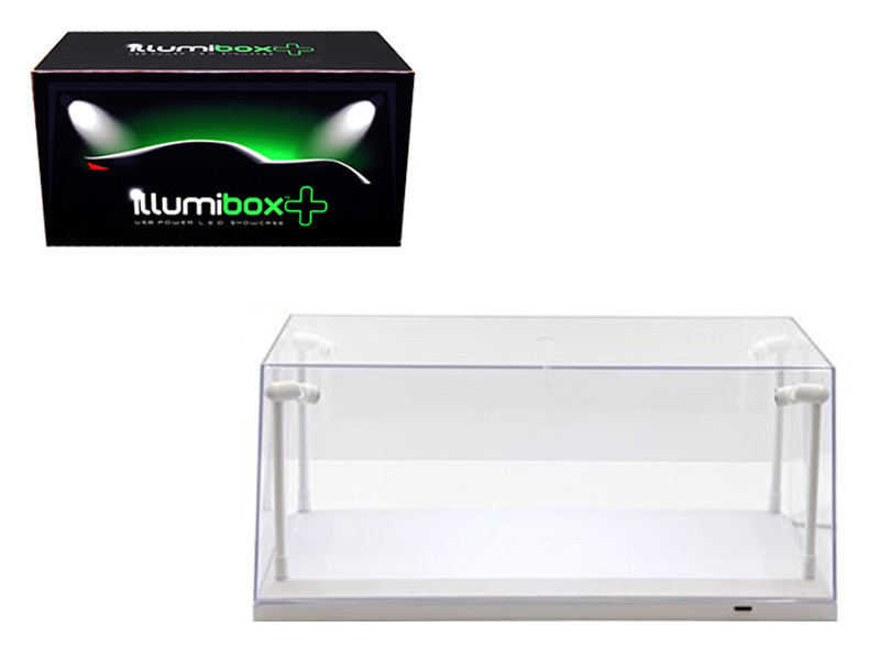 Collectible Display Show Case with LED Lights for 1/18 1/24 Models with White Base Illumibox 14005