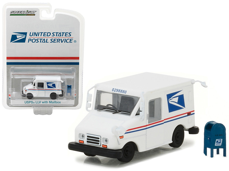 United States Postal Service USPS Long Life Postal Mail Delivery Vehicle LLV with Mailbox Accessory Hobby Exclusive 1/64 Diecast Model Car Greenlight 29888