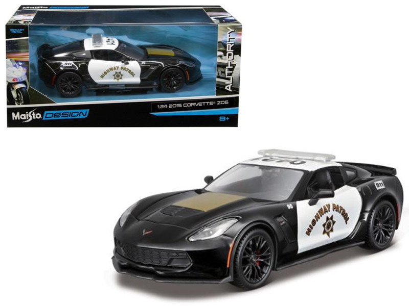 2015 Chevrolet Corvette C7 Z06 Highway Patrol Police Car 1/24 Diecast Model Car Maisto 32516
