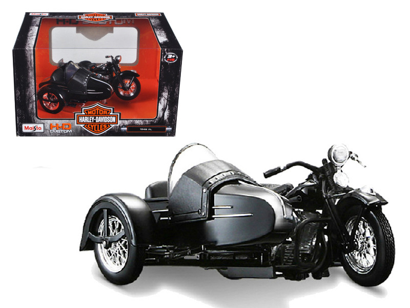 1948 Harley Davidson FL with Side Car Black Motorcycle Model 1/18 Diecast Model Maisto 03174