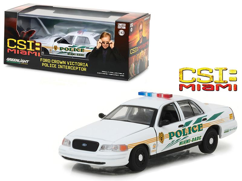 Ford Crown Victoria Police Interceptor CSI Miami Dade Police Car 2002-2012 TV Series 1/43 Diecast Model Car Greenlight 86508