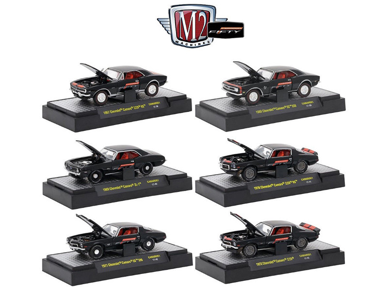 Camaro Fifty 50th Anniversary 6 cars set IN DISPLAY CASES 1/64 Diecast Model Cars M2 Machines 32600-CAMARO01
