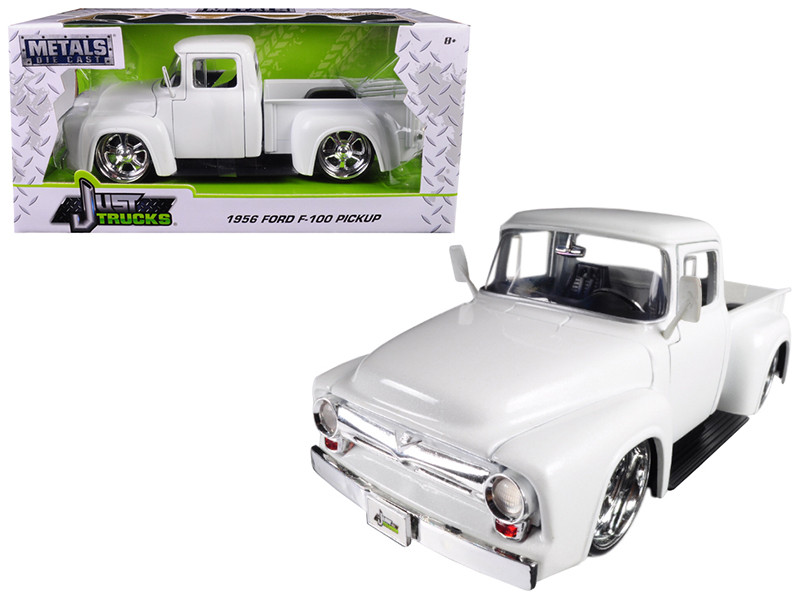 1956 Ford F-100 Pickup Truck White Just Trucks 1/24 Diecast Model Car Jada 99043