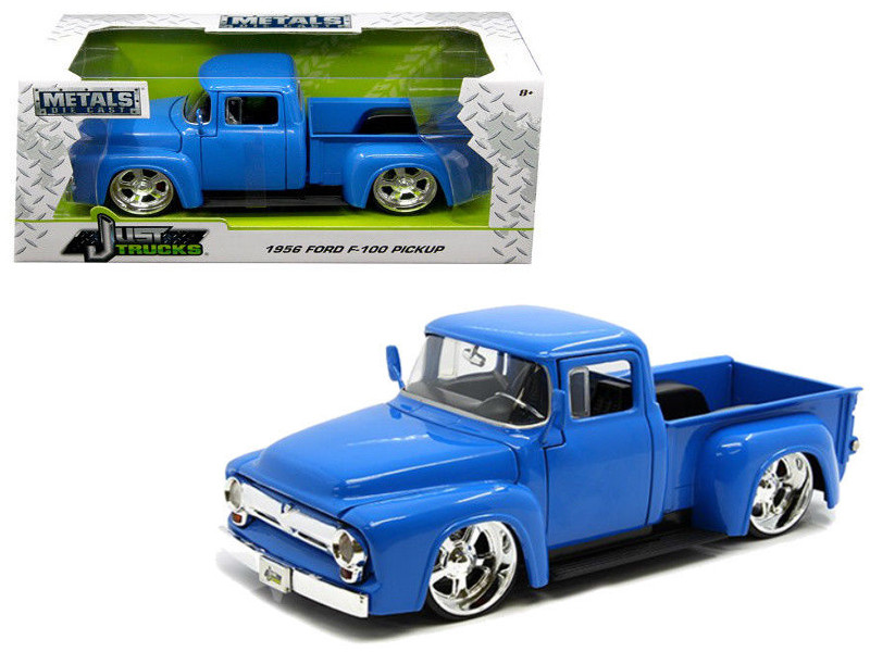 1956 Ford F-100 Pickup Truck Blue Just Trucks 1/24 Diecast Model Car Jada 99044