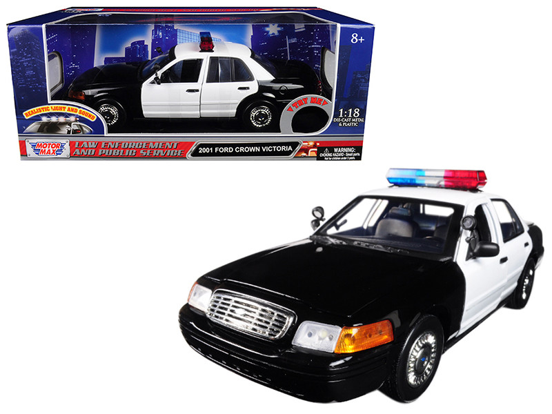 2001 Ford Crown Victoria Police Car Plain Black & White with Flashing Light Bar Front and Rear Lights and Sound 1/18 Diecast Model Car Motormax 73991