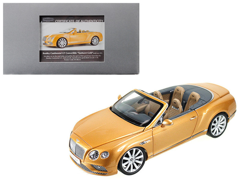2016 Bentley Continental GT Convertible LHD Sunburst Gold 1/18 Diecast Model Car Paragon 98232