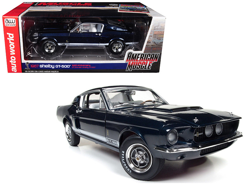 1967 Ford Shelby Mustang GT 500 2+2 Nightmist Blue Metallic Hemmings Muscle Machines and 50th Shelby Anniversary Limited Edition to 1002pc 1/18 Diecast Model Car Autoworld AMM1111