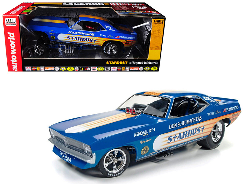 Don Schumacher's 1972 Plymouth Cuda Stardust Bobby Rowe Funny Car Limited Edition to 750pcs 1/18 Model Car Autoworld AW1179