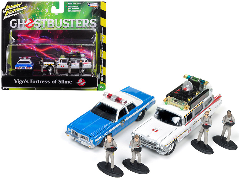 ECTO 1A 1959 Cadillac Ambulance and 1977 Dodge Monaco New York City Police with Figurines from Ghostbusters 1 Movie 1/64 Diecast Model Cars Johnny Lightning JLDR001 GH