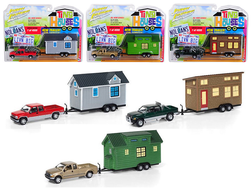 Tiny Houses Set of 3 Trucks Release B 1/64 Diecast Model Cars Johnny Lightning JLTH001 B
