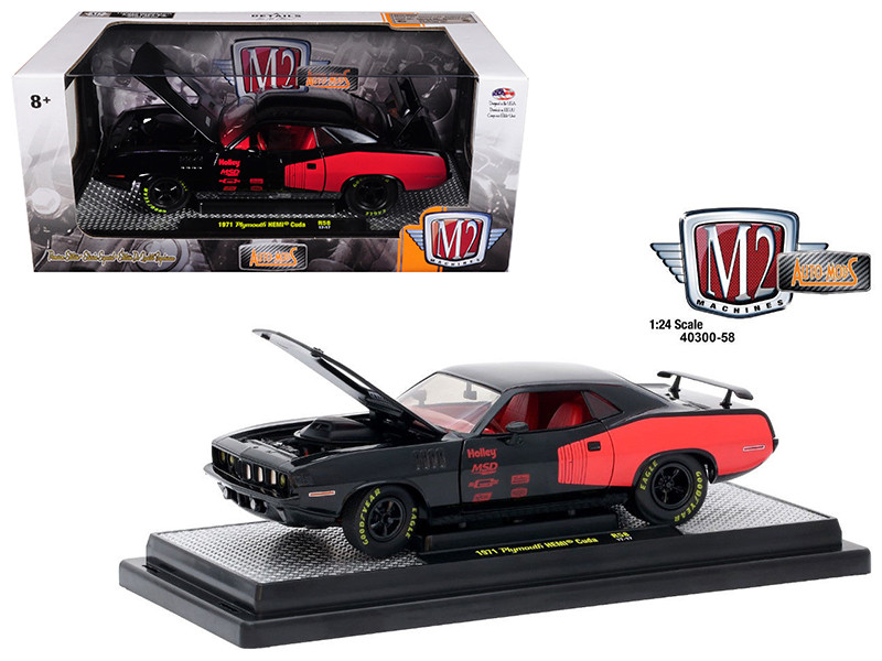 1971 Plymouth Hemi Cuda Gloss Black with Bright Red Stripes 1/24 Diecast Model Car M2 Machines 40300-58 A