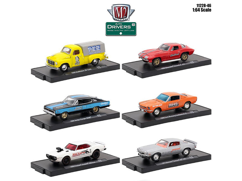 Drivers 6 Cars Set Release 46 In Blister Packs 1/64 Diecast Model Cars M2 Machines 11228-46