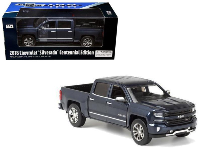 2018 Chevrolet Silverado LTZ Centennial 100 Years Anniversary Edition Blue 1/27 Diecast Model Car Motormax 79353