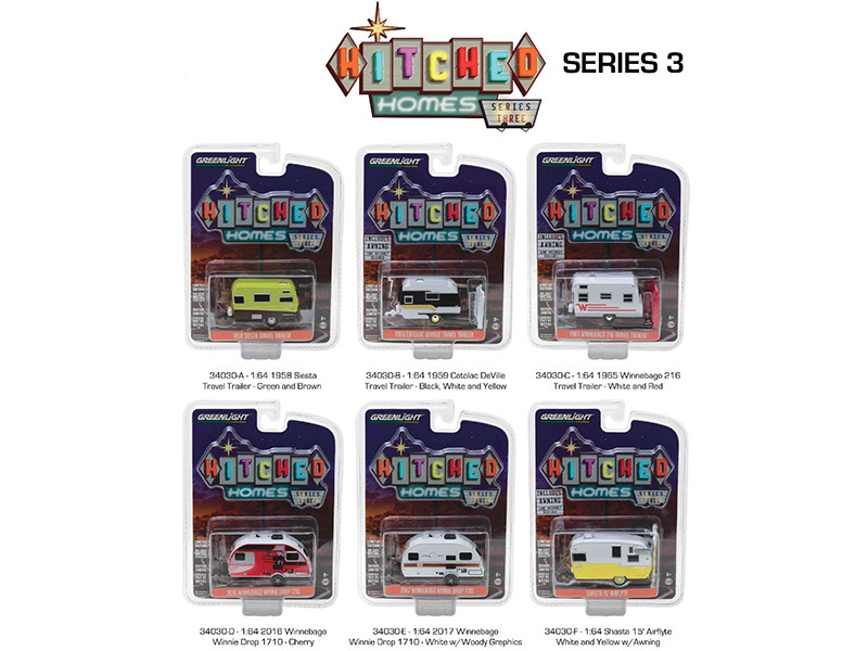 Hitched Homes Series 3 6pc Trailer Set 1/64 Diecast Models Greenlight 34030