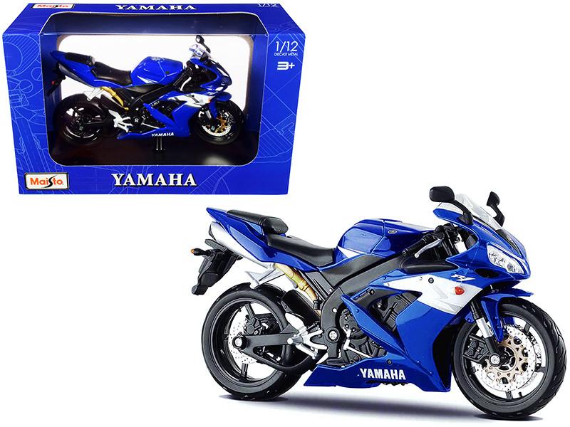2004 Yamaha YZF-R1 Blue Bike Plastic Display Stand 1/12 Diecast Motorcycle Model Maisto 31102-32712