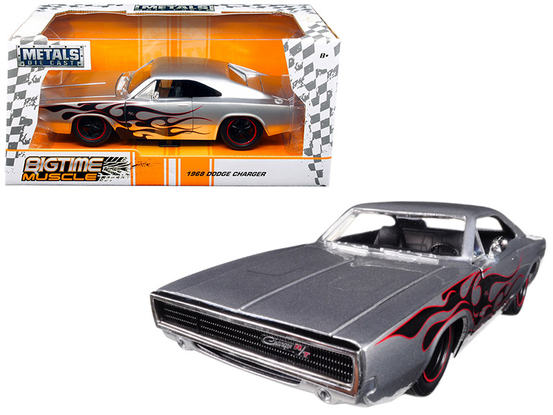 1968 Dodge Charger Silver with Flames Big Time Muscle 1/24 Diecast Model Car Jada 99367
