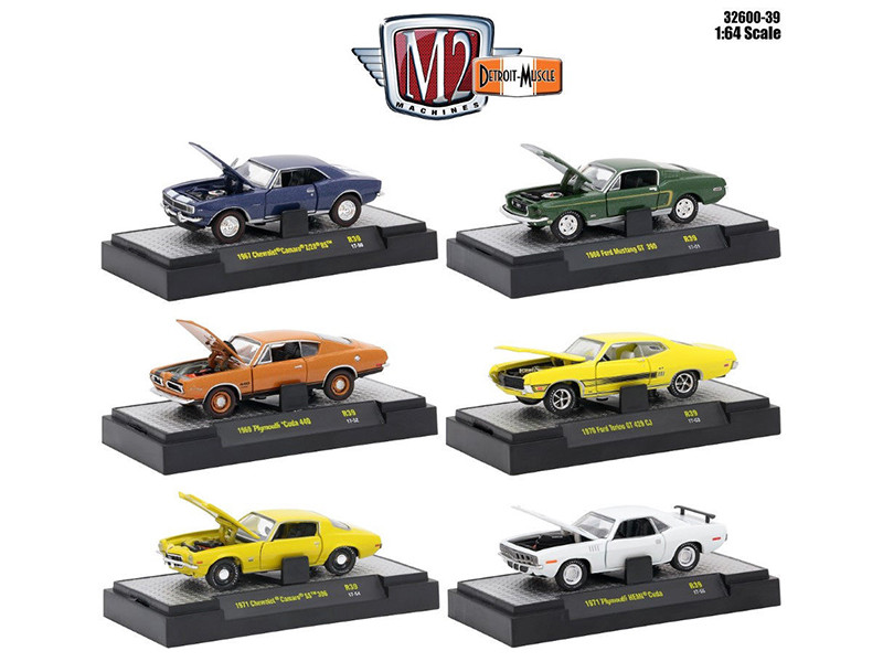 Detroit Muscle 6 Cars Set Release 39 IN DISPLAY CASES 1/64 Diecast Model Cars M2 Machines 32600-39
