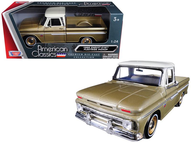1966 Chevrolet C10 Fleetside Pickup Truck Gold 1/24 Diecast Car Model Motormax 73355