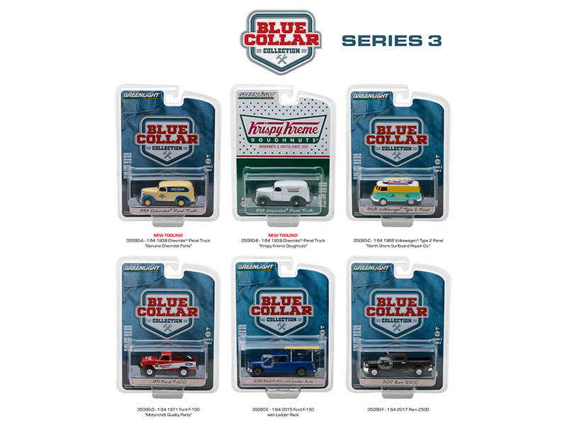 Blue Collar Collection Series 3 6pc Set 1/64 Diecast Model Cars Greenlight 35080