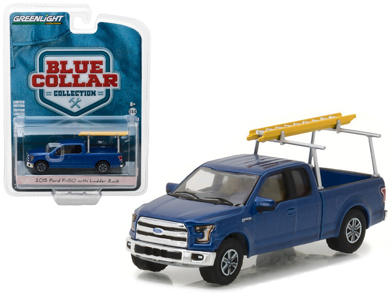 2015 Ford F-150 Blue Pickup Truck with Ladder Rack Blue Collar Collection Series 3 1/64 Diecast Model Car Greenlight 35080 E