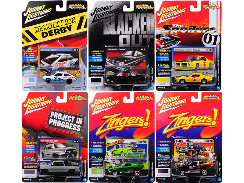 Street Freaks 2017 Release 4A Set of 6 cars 1/64 Diecast Model Cars by Johnny Lightning