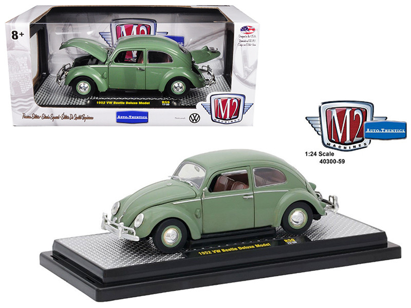 1952 Volkswagen Beetle Deluxe Pastel Green 1/24 Diecast Model Car M2 Machines 40300-59 A