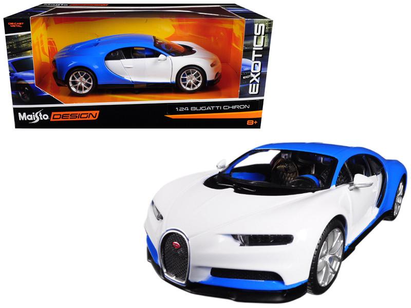 Bugatti Chiron Blue White Exotics 1/24 Diecast Model Car Maisto 32509