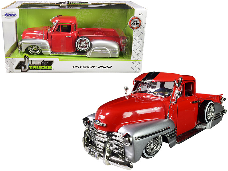 1951 Chevrolet Pickup Truck Lowrider Red Silver 1/24 Diecast Car Model Jada 97229