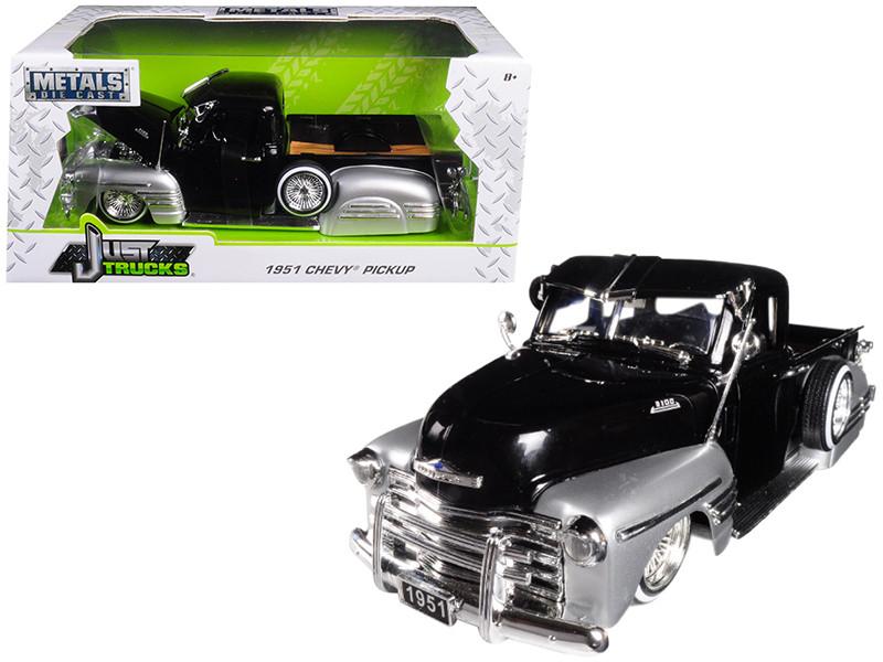 1951 Chevrolet Pickup Truck Lowrider Black Silver 1/24 Diecast Car Model Jada 99035