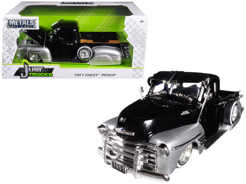 1951 Chevrolet Pickup Truck Lowrider Black Silver 1/24 Diecast Car Model Jada 99035
