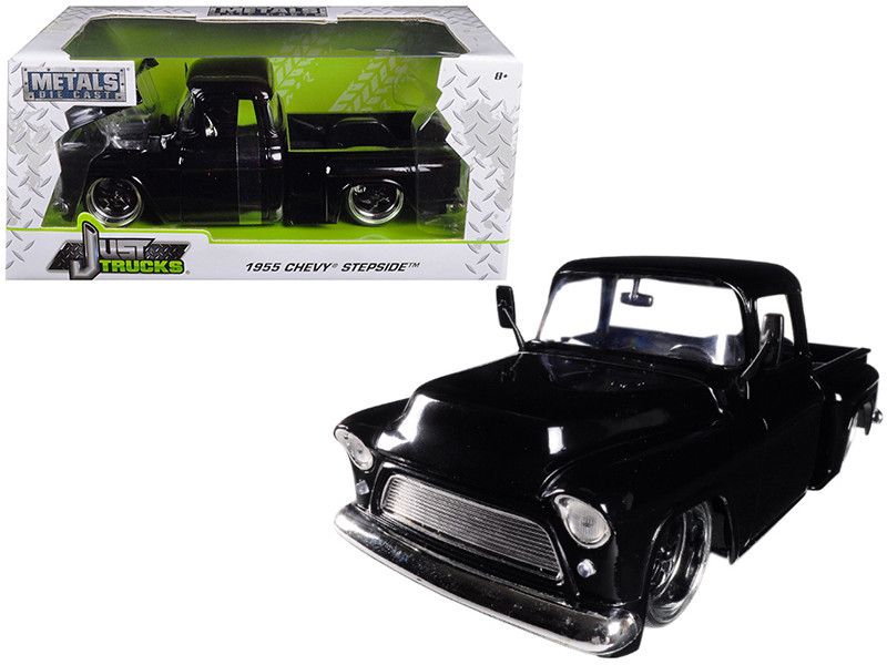1955 Chevrolet Stepside Pickup Truck Black 1/24 Diecast Car Model Jada 99041