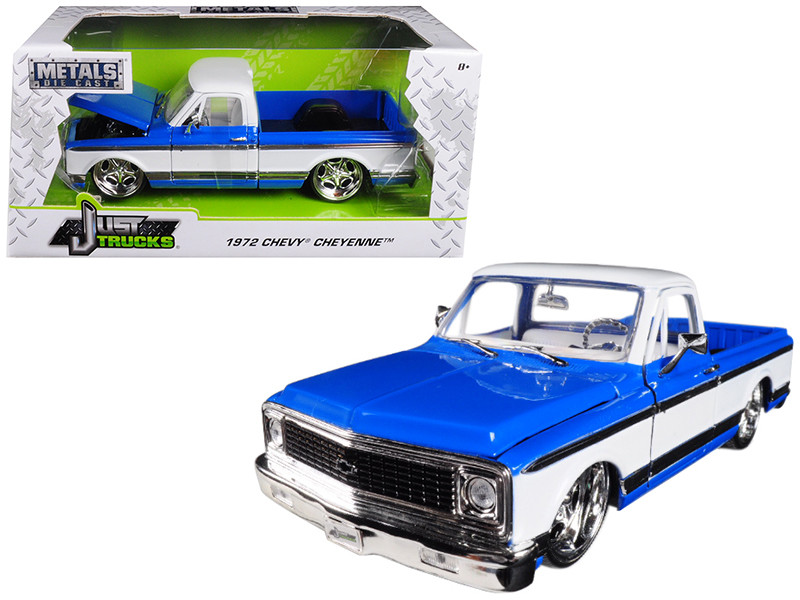 1972 Chevrolet Cheyenne Pickup Truck Blue White 1/24 Diecast Car Model Jada 99046