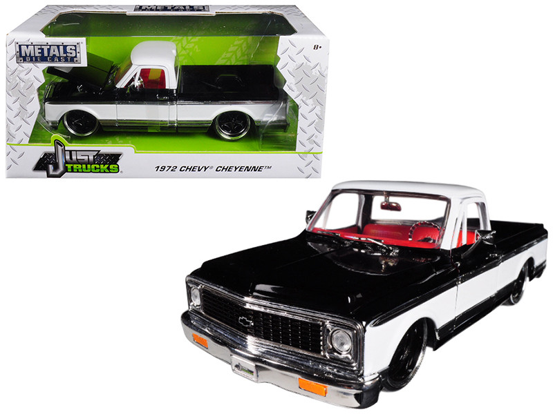 1972 Chevrolet Cheyenne Pickup Truck Black White 1/24 Diecast Car Model Jada 99047