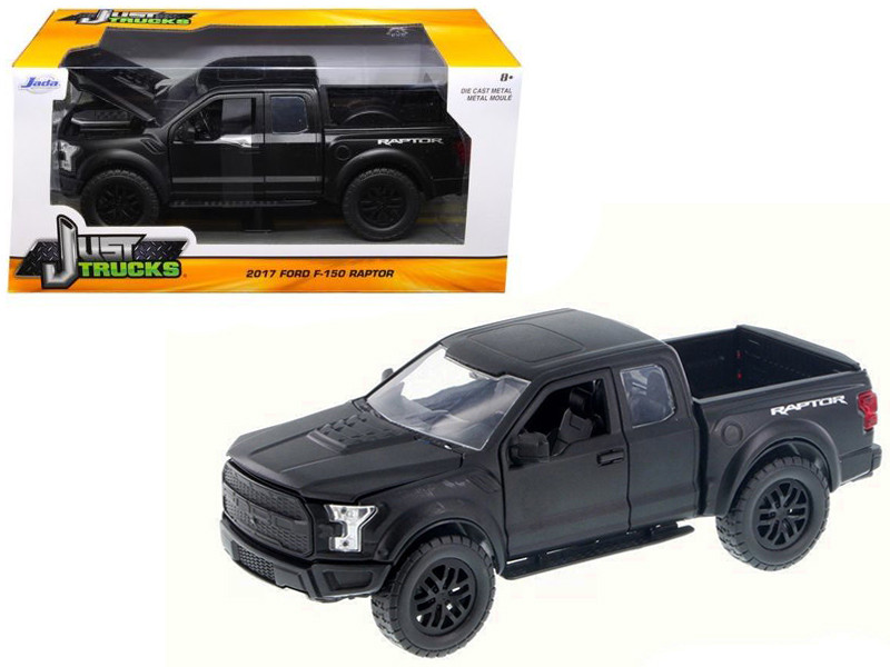 2017 Ford F-150 Raptor Pickup Truck Matt Black 1/24 Diecast Model Car Jada 97756