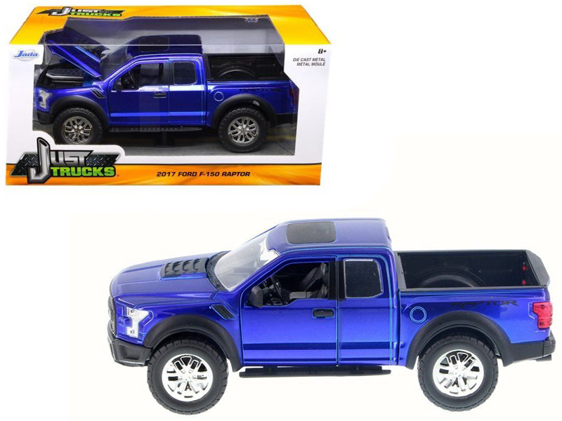 2017 Ford F-150 Raptor Pickup Truck Blue 1/24 Diecast Model Car Jada 98583