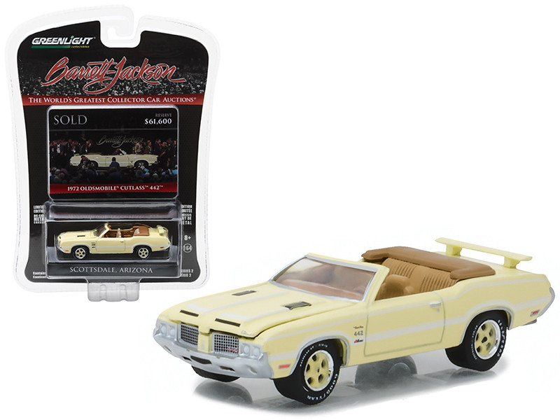 1972 Oldsmobile Cutlass 442 Bada Bing Convertible Yellow Previously Owned Actor James Gandolfini Barrett Jackson Scottsdale Edition Series 2 1/64 Diecast Model Car Greenlight 37130 F