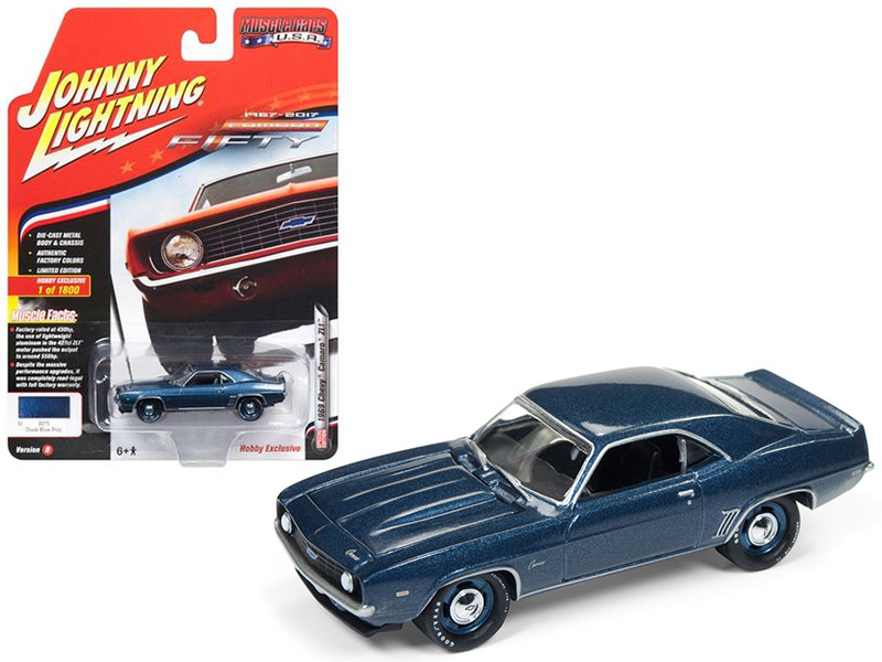 1969 Chevrolet Camaro ZL1 Dusk Blue Poly 50th Anniversary Limited Edition to 1800pc Worldwide Hobby Exclusive Muscle Cars USA 1/64 Diecast Model Car Johnny Lightning JLSP003 B