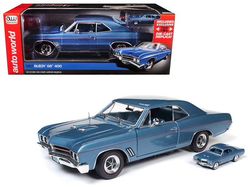 1967 Buick GS Hardtop Sapphire Blue and 1/64 Scale 1967 Buick GS Hardtop 2 Cars Set Limited Edition to 1002pc 1/18 Diecast Model Car Autoworld AMM1115