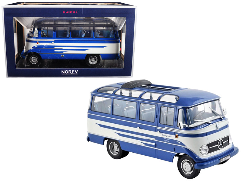 1960 Mercedes O319 Bus Blue Beige 1/18 Diecast Model Car Norev 183412