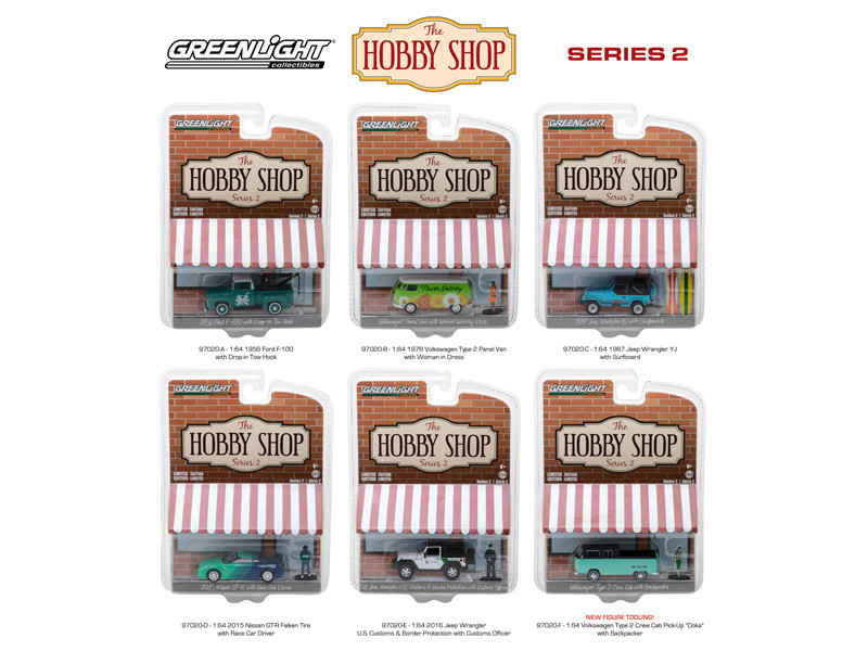 The Hobby Shop Series 2 6pc Set 1/64 Diecast Model Cars Greenlight 97020