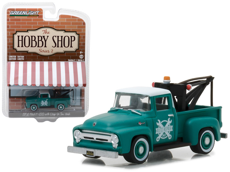 1956 Ford F-100 Green with Drop-in Tow Hook The Hobby Shop Series 2 1/64 Diecast Model Car Greenlight 97020 A